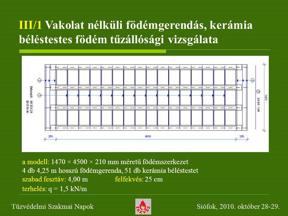 III/1 Vakolat nélküli födémgerendás, kerámia béléstestes födém tűzállósági vizsgálata