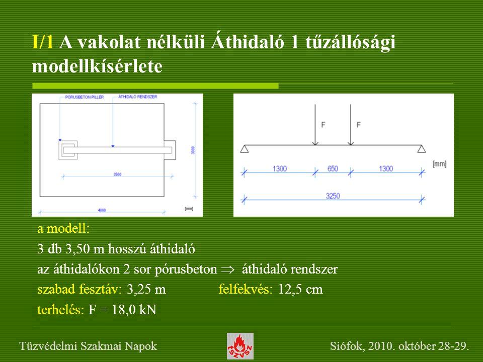 I/1 A vakolat nélküli Áthidaló 1 tűzállósági modellkísérlete