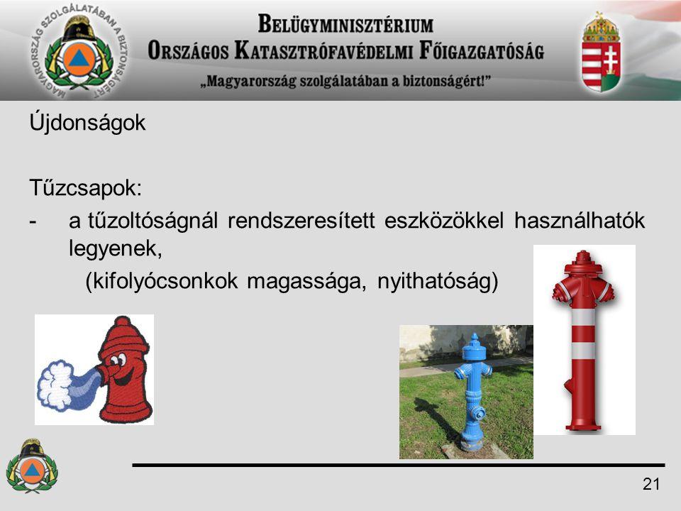 a tűzoltóságnál rendszeresített eszközökkel használhatók legyenek,
