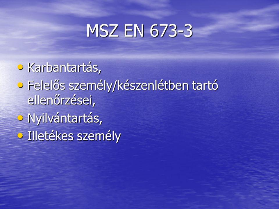 MSZ EN 673-3 Karbantartás, Felelős személy/készenlétben tartó ellenőrzései, Nyilvántartás, Illetékes személy.