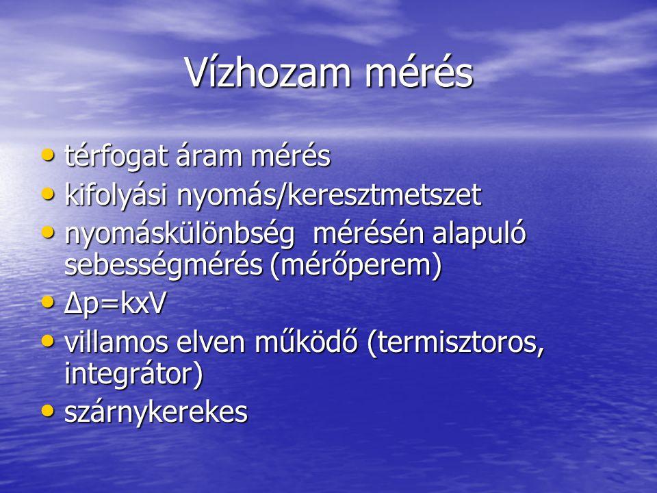 Vízhozam mérés térfogat áram mérés kifolyási nyomás/keresztmetszet