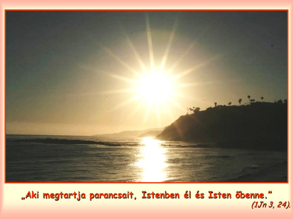 """""""Aki megtartja parancsait, Istenben él és Isten őbenne. (1Jn 3, 24)."""