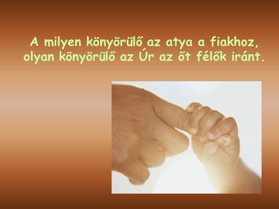 A milyen könyörülő az atya a fiakhoz, olyan könyörülő az Úr az őt félők iránt.