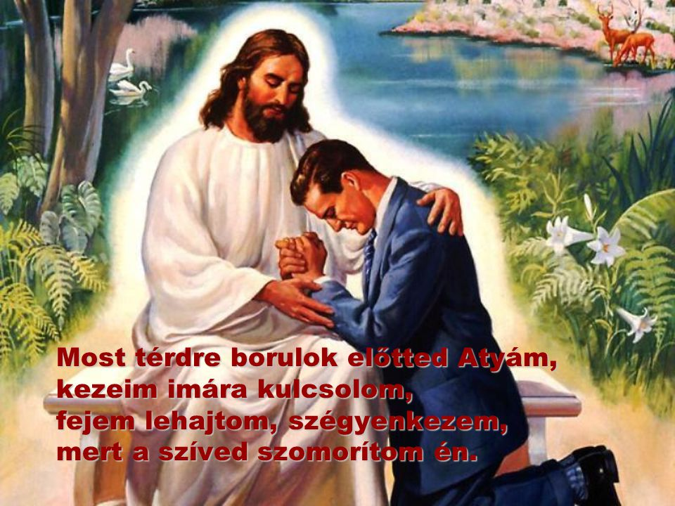 Most térdre borulok előtted Atyám, kezeim imára kulcsolom, fejem lehajtom, szégyenkezem, mert a szíved szomorítom én.