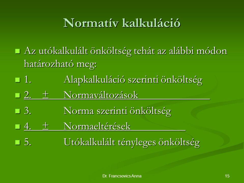 Normatív kalkuláció Az utókalkulált önköltség tehát az alábbi módon határozható meg: 1. Alapkalkuláció szerinti önköltség.