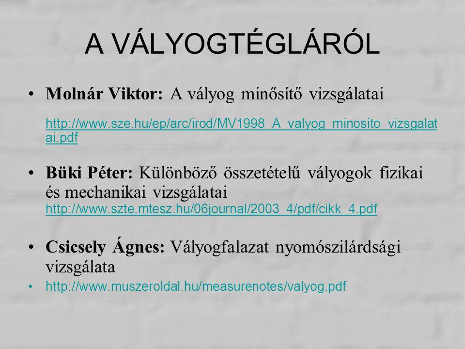 A VÁLYOGTÉGLÁRÓL Molnár Viktor: A vályog minősítő vizsgálatai
