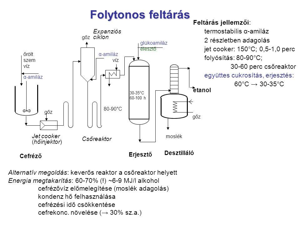 Folytonos feltárás Feltárás jellemzői: termostabilis α-amiláz