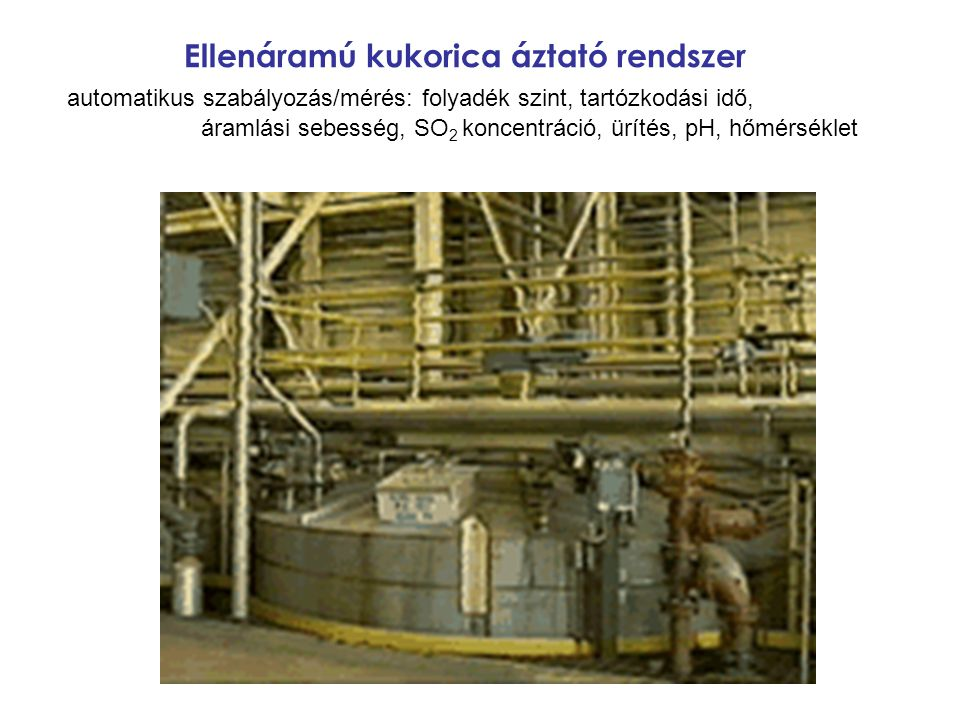Ellenáramú kukorica áztató rendszer automatikus szabályozás/mérés: folyadék szint, tartózkodási idő, áramlási sebesség, SO2 koncentráció, ürítés, pH, hőmérséklet