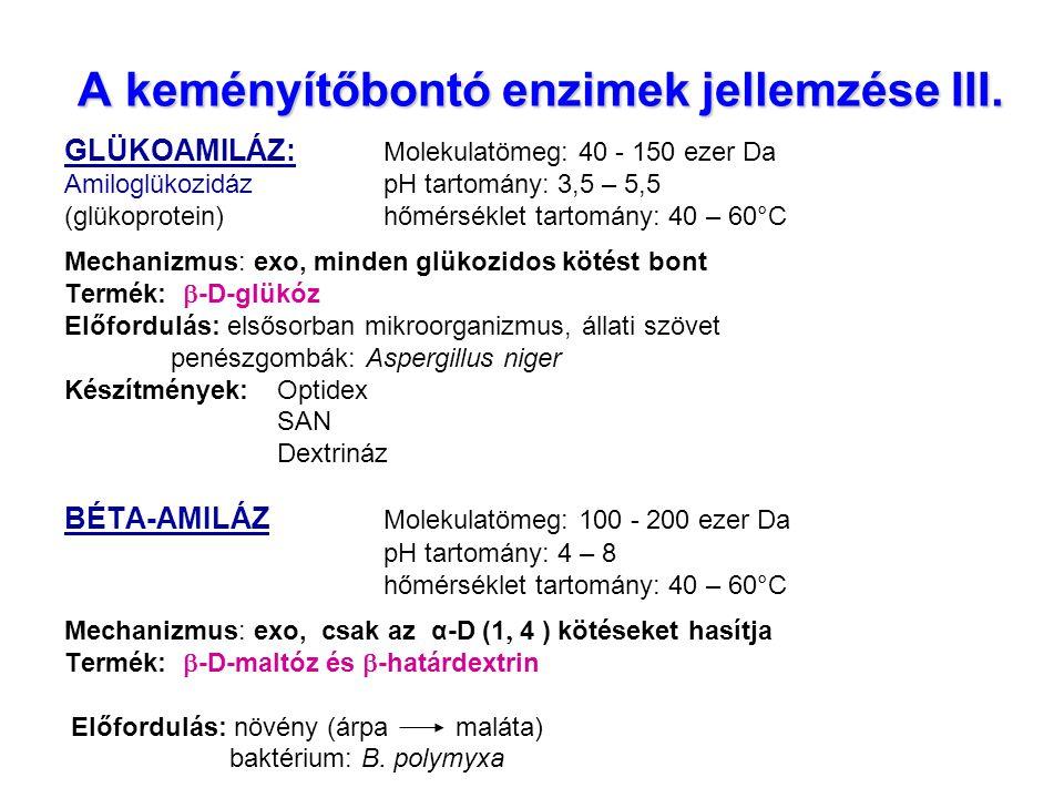 A keményítőbontó enzimek jellemzése III.