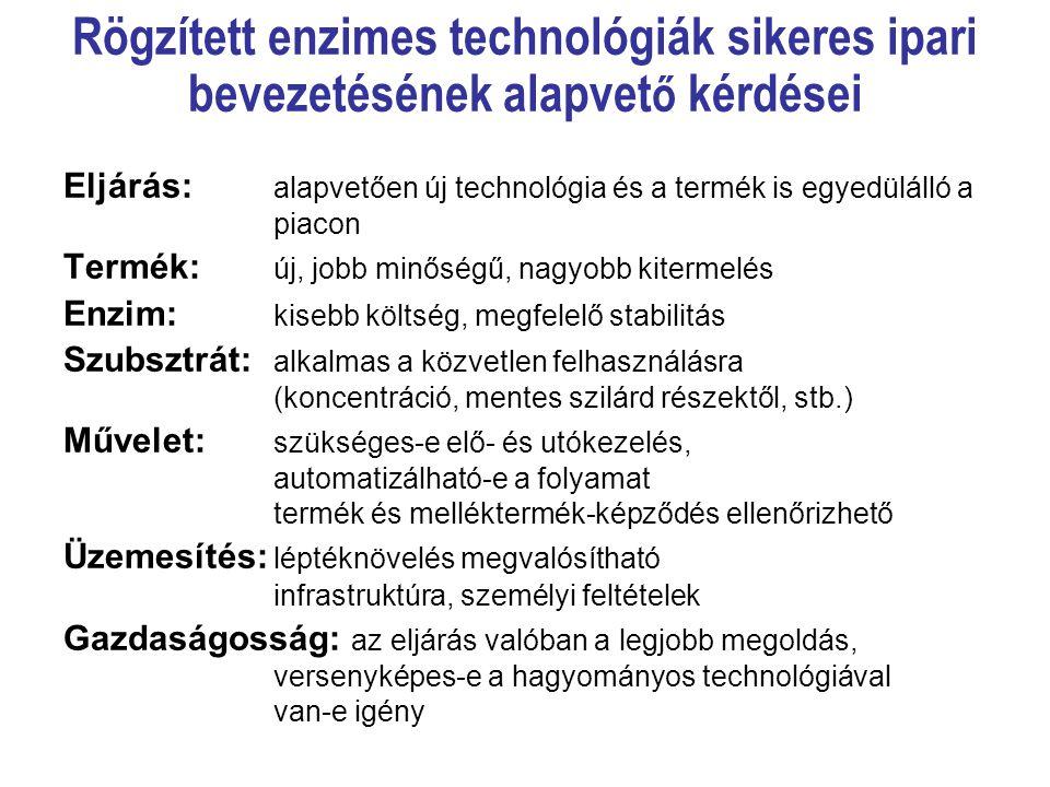Rögzített enzimes technológiák sikeres ipari bevezetésének alapvető kérdései