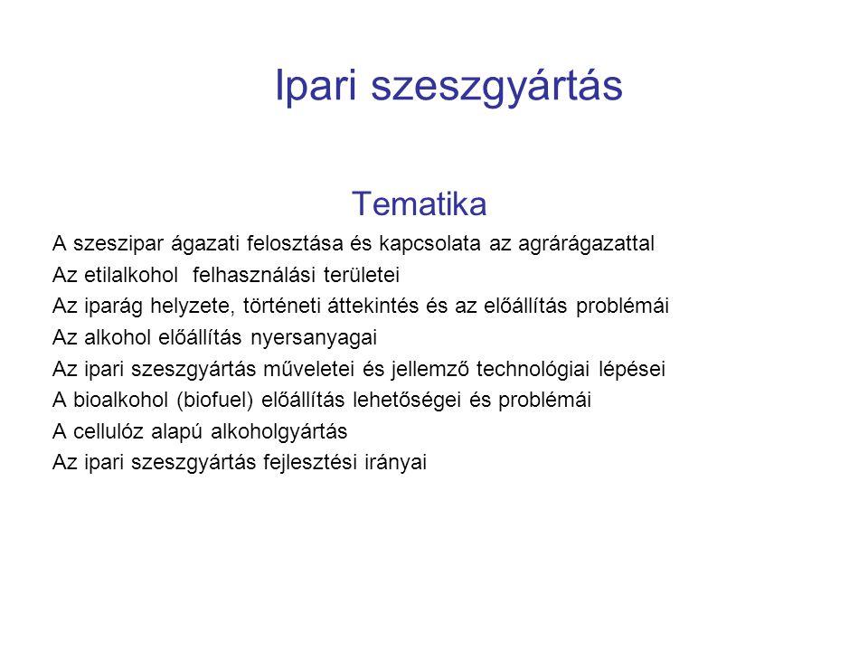 Ipari szeszgyártás Tematika