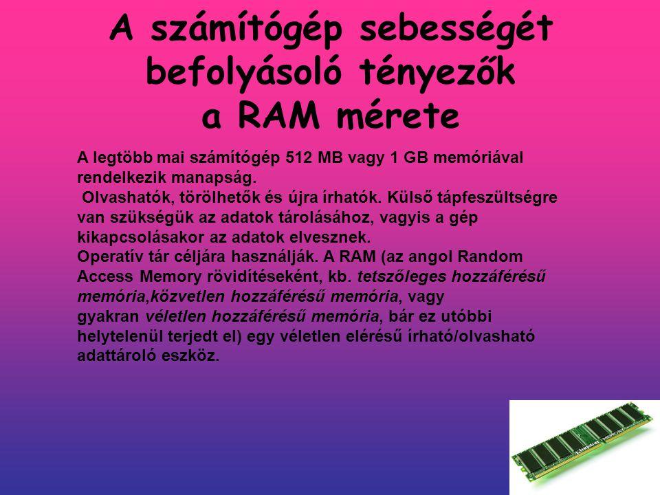 A számítógép sebességét befolyásoló tényezők a RAM mérete