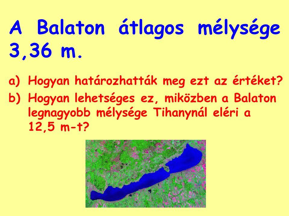 A Balaton átlagos mélysége 3,36 m.