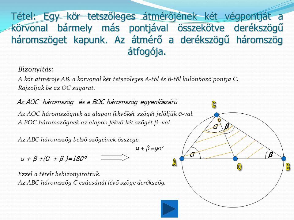 Tétel: Egy kör tetszőleges átmérőjének két végpontját a körvonal bármely más pontjával összekötve derékszögű háromszöget kapunk. Az átmérő a derékszögű háromszög átfogója.