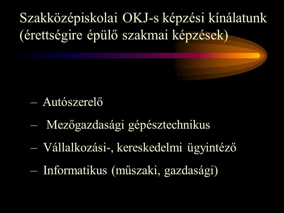 Szakközépiskolai OKJ-s képzési kínálatunk (érettségire épülő szakmai képzések)