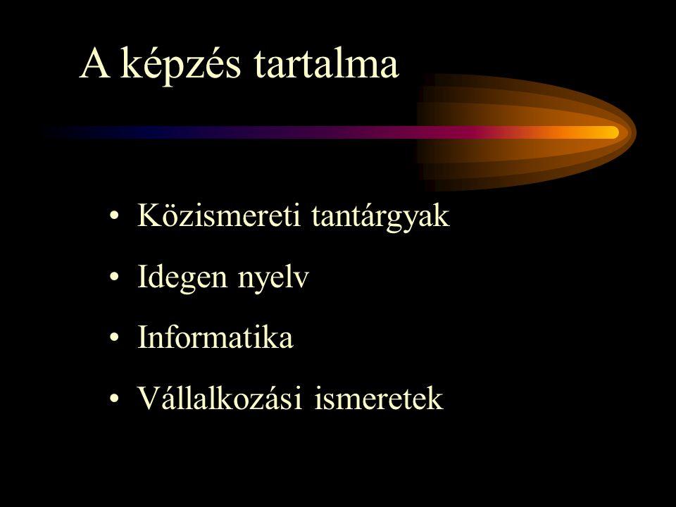 A képzés tartalma Közismereti tantárgyak Idegen nyelv Informatika