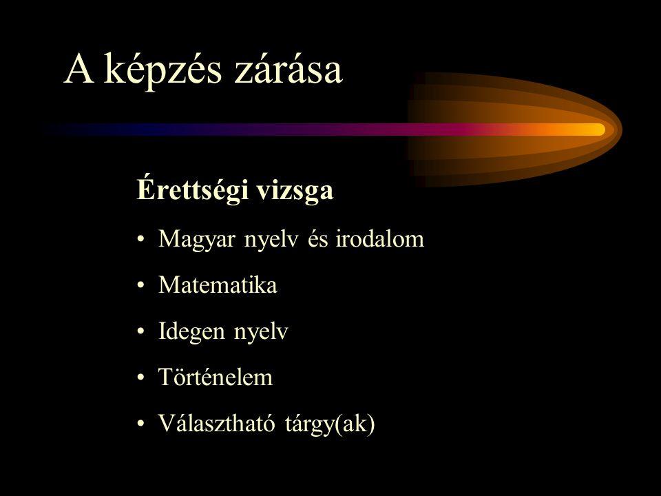 A képzés zárása Érettségi vizsga Magyar nyelv és irodalom Matematika