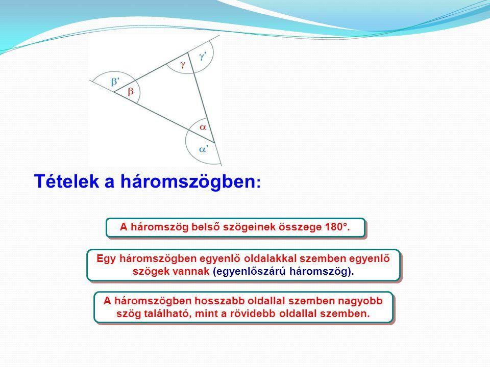 A háromszög belső szögeinek összege 180°.