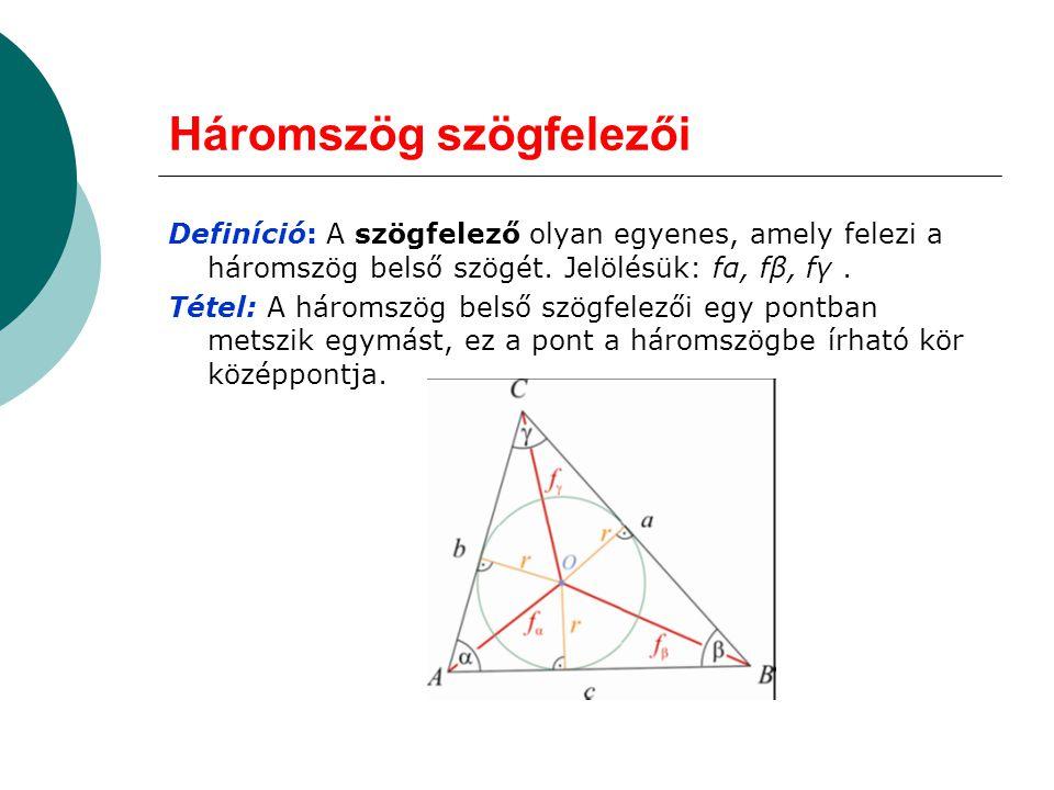 Háromszög szögfelezői
