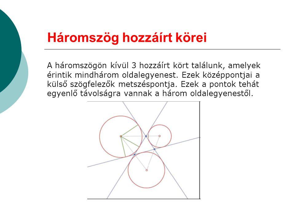 Háromszög hozzáírt körei