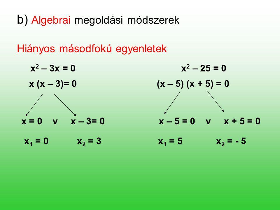 b) Algebrai megoldási módszerek