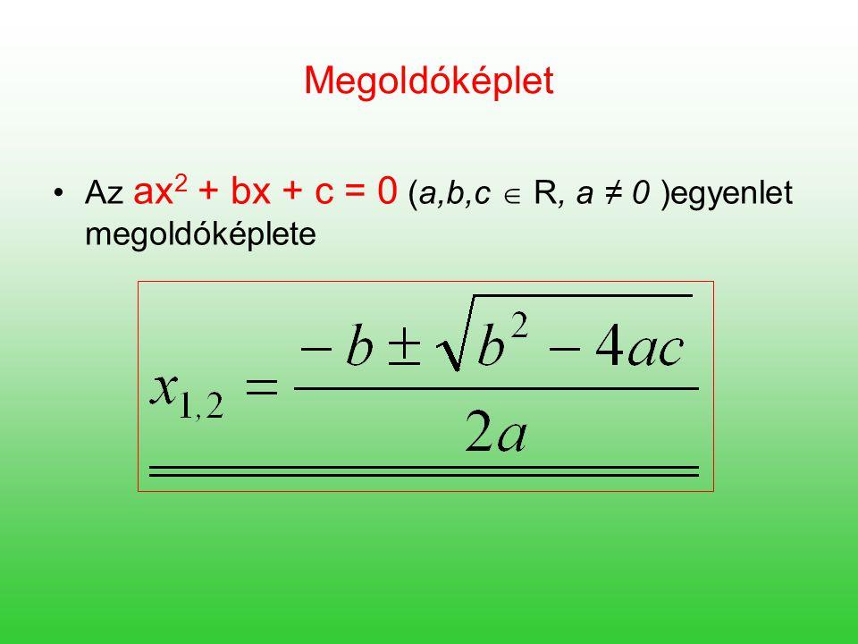 Megoldóképlet Az ax2 + bx + c = 0 (a,b,c  R, a ≠ 0 )egyenlet megoldóképlete