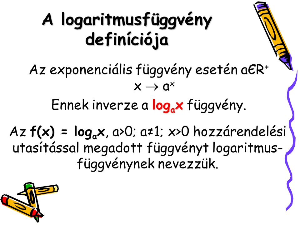 A logaritmusfüggvény definíciója