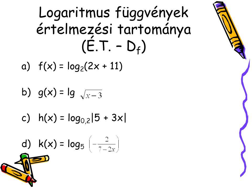 Logaritmus függvények értelmezési tartománya (É.T. – Df)
