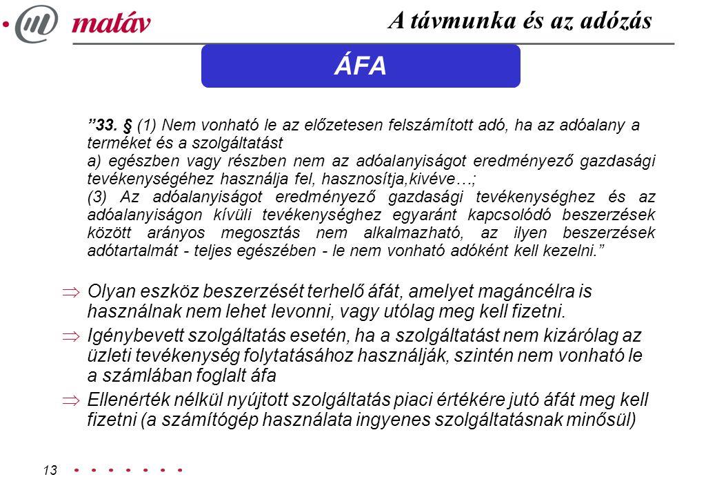 A távmunka és az adózás ÁFA