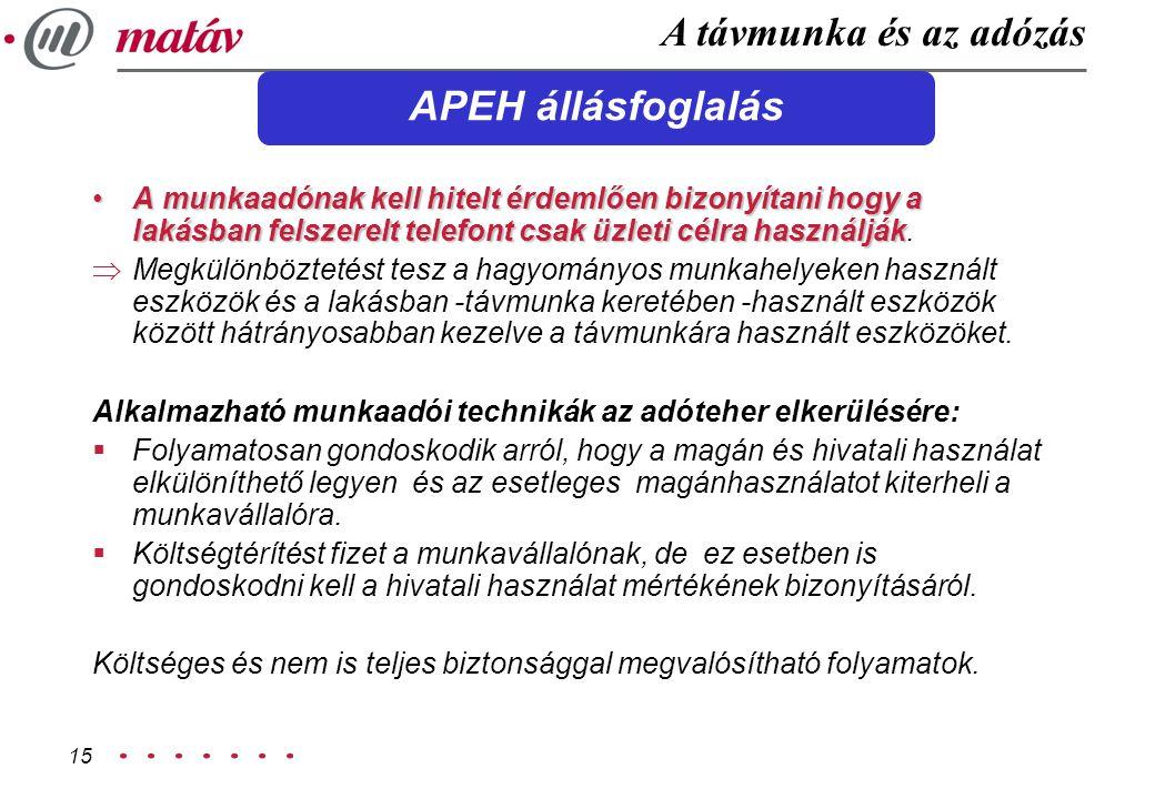 A távmunka és az adózás APEH állásfoglalás