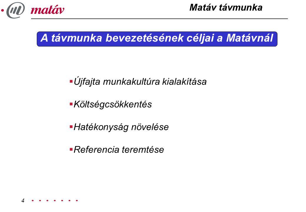 A távmunka bevezetésének céljai a Matávnál
