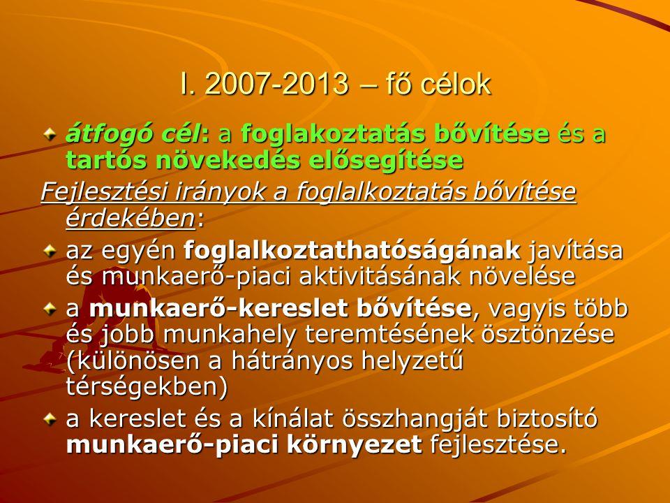 I. 2007-2013 – fő célok átfogó cél: a foglakoztatás bővítése és a tartós növekedés elősegítése.