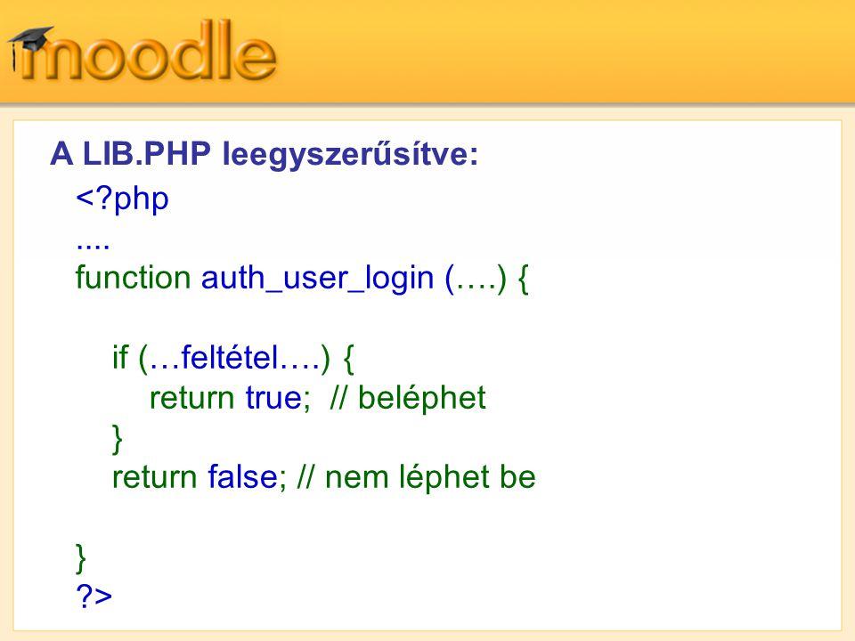 A LIB.PHP leegyszerűsítve: < php ....