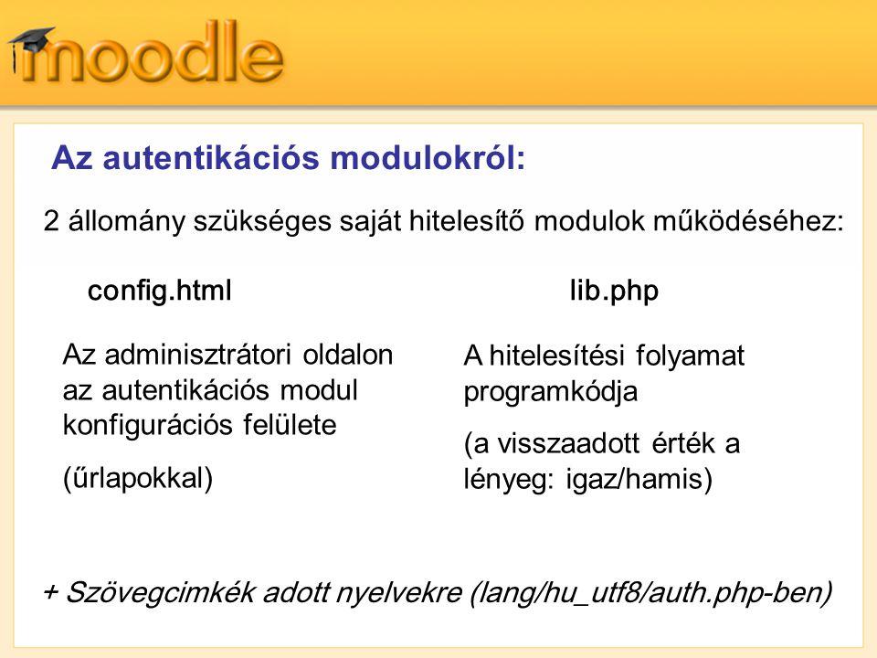 Az autentikációs modulokról:
