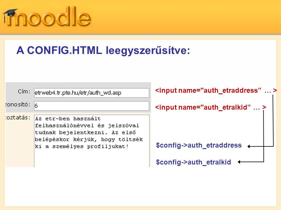 A CONFIG.HTML leegyszerűsítve: