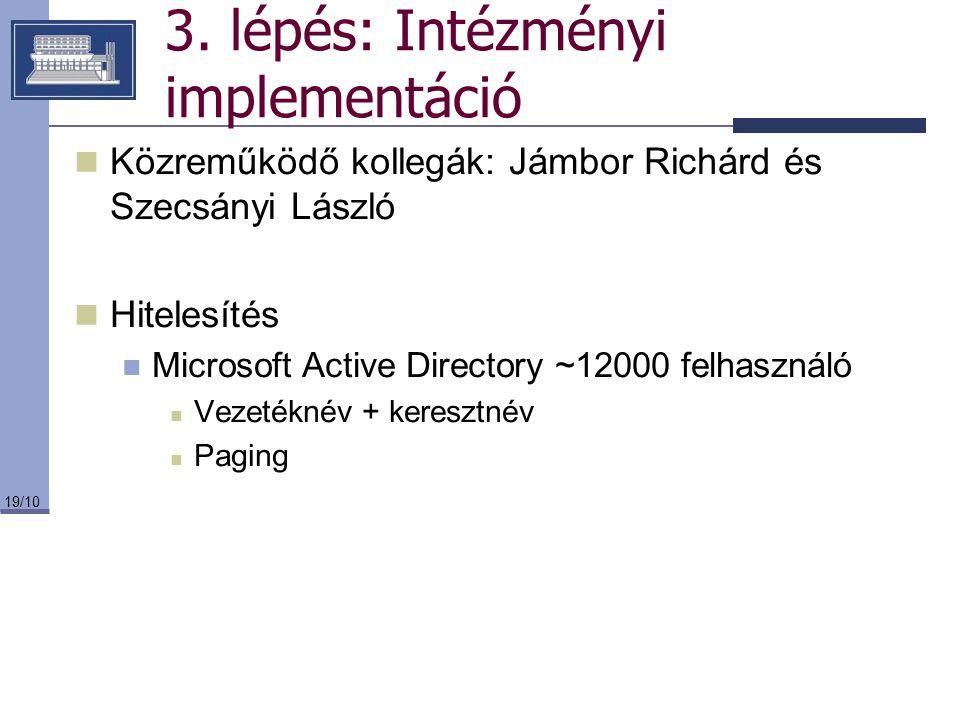 3. lépés: Intézményi implementáció
