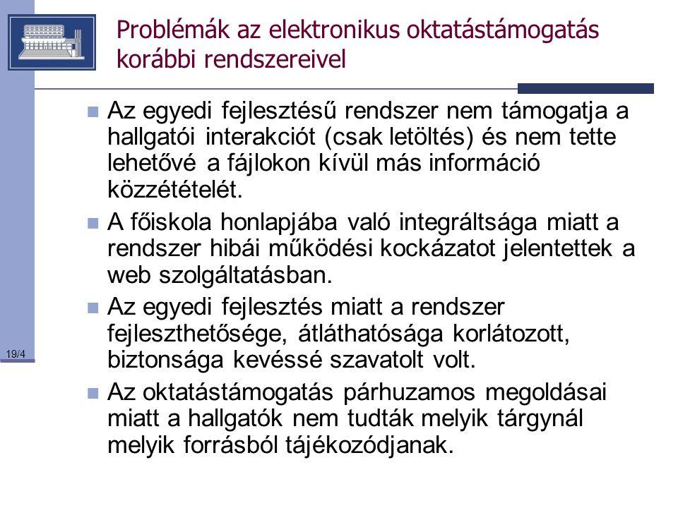 Problémák az elektronikus oktatástámogatás korábbi rendszereivel