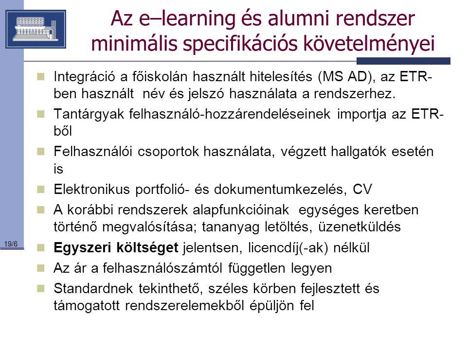 Az e–learning és alumni rendszer minimális specifikációs követelményei