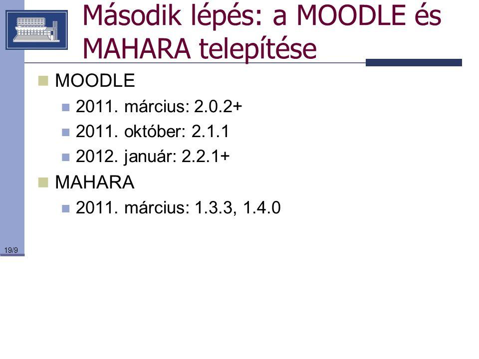 Második lépés: a MOODLE és MAHARA telepítése
