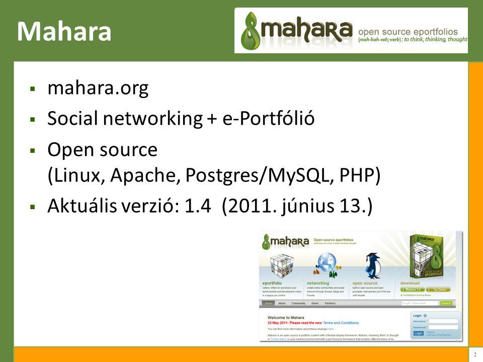 Mahara mahara.org Social networking + e-Portfólió