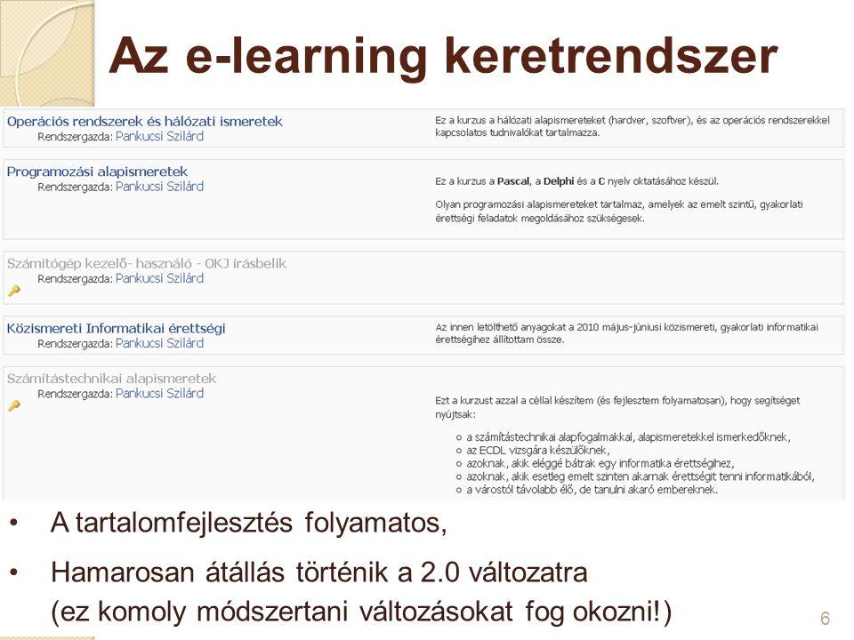 Az e-learning keretrendszer