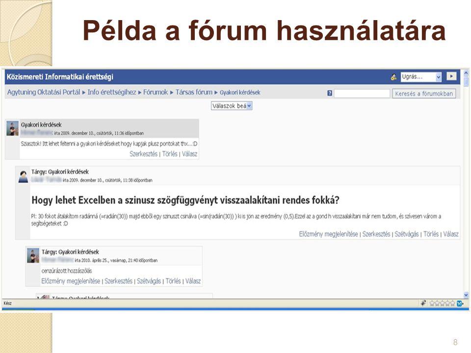 Példa a fórum használatára