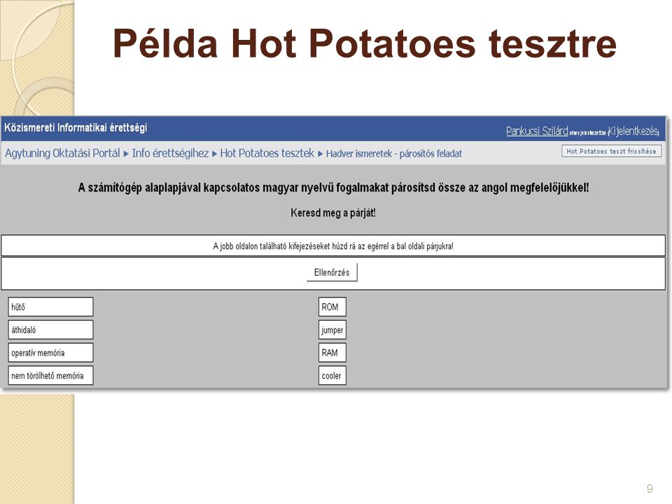 Példa Hot Potatoes tesztre
