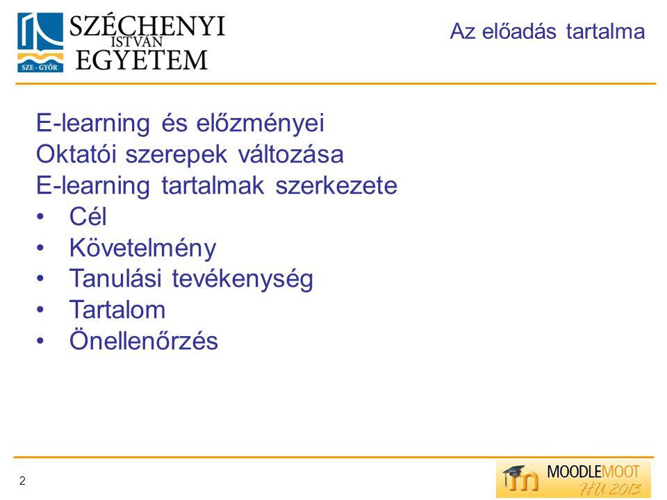 E-learning és előzményei Oktatói szerepek változása