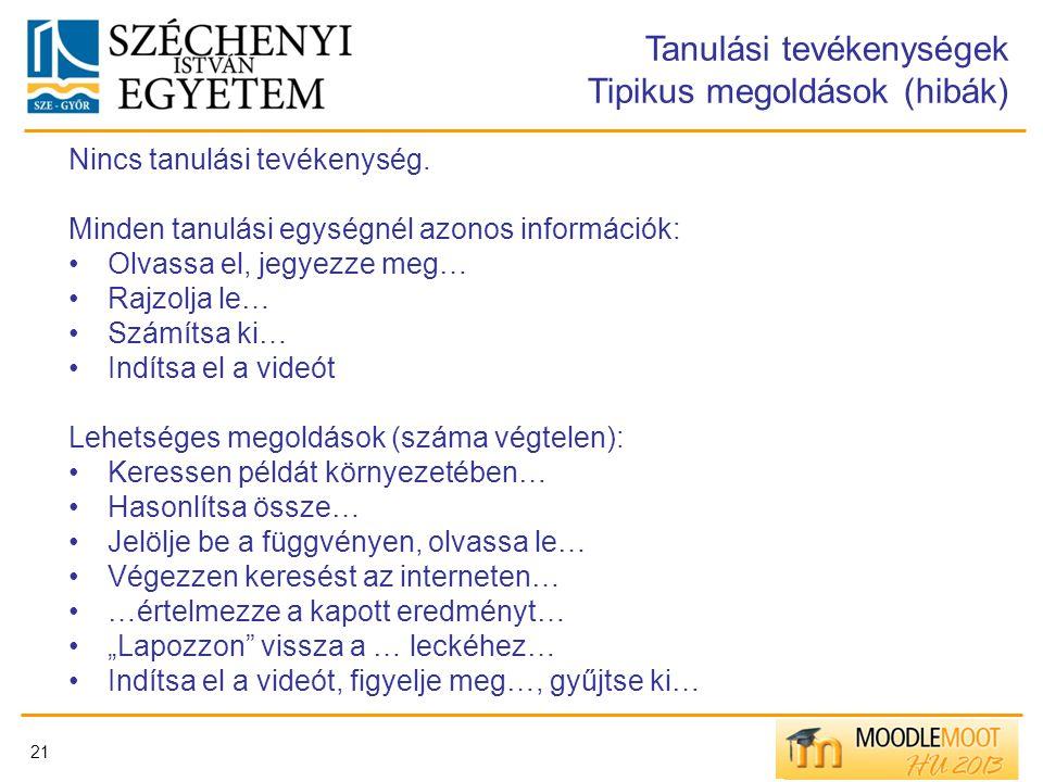 Tanulási tevékenységek Tipikus megoldások (hibák)