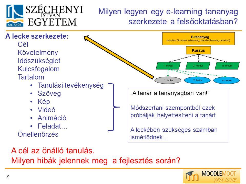 Milyen legyen egy e-learning tananyag szerkezete a felsőoktatásban