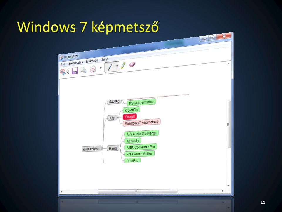 Windows 7 képmetsző Képlopó alapfunkciókkal + kézi rajzolási lehetőség.