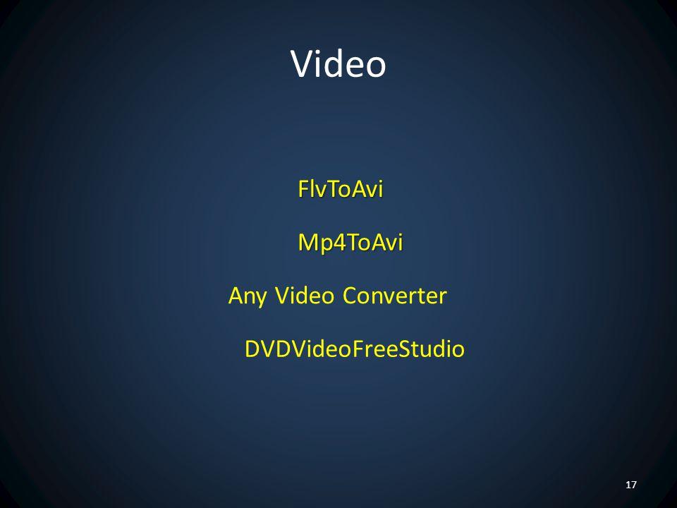 Video FlvToAvi Mp4ToAvi Any Video Converter DVDVideoFreeStudio