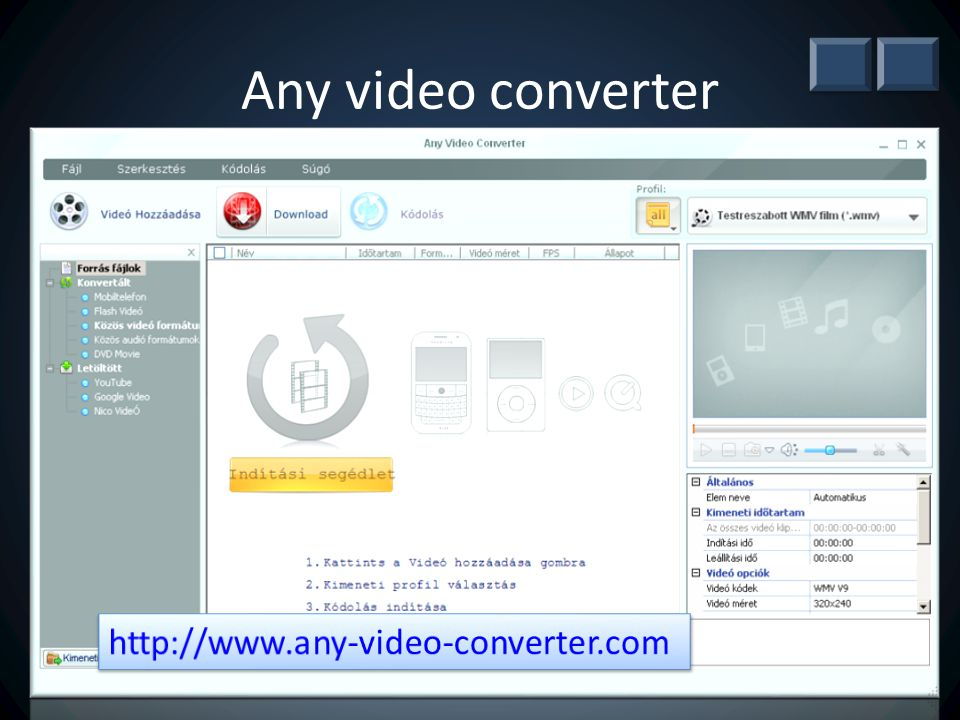 Any video converter http://www.any-video-converter.com