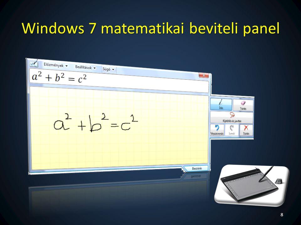 Windows 7 matematikai beviteli panel